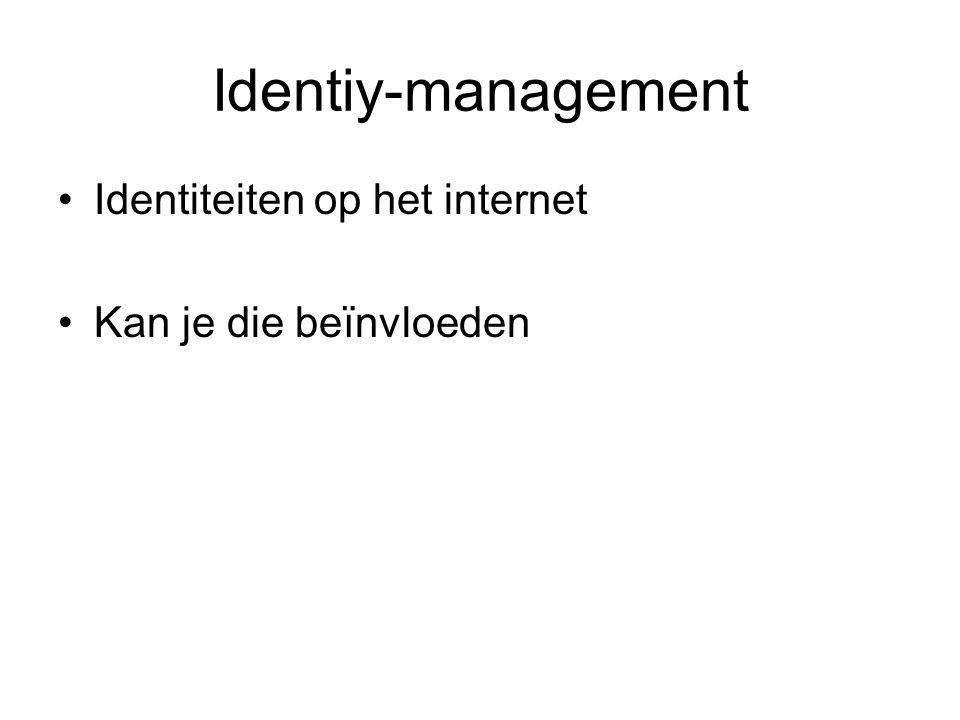 Identiy-management Identiteiten op het internet Kan je die beïnvloeden