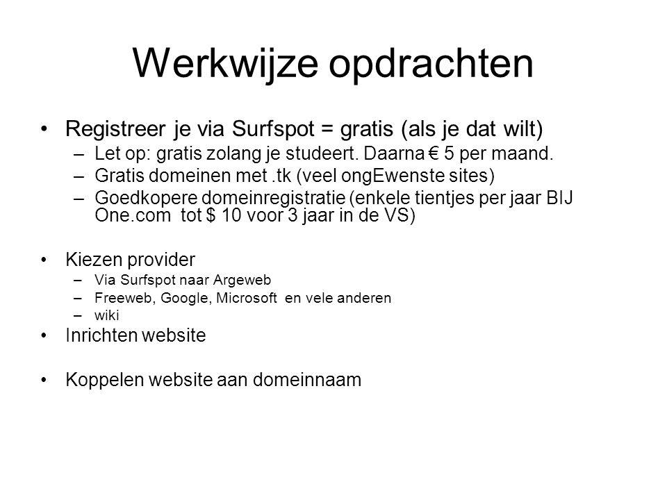 Werkwijze opdrachten Registreer je via Surfspot = gratis (als je dat wilt) Let op: gratis zolang je studeert. Daarna € 5 per maand.