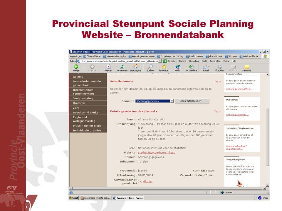 Provinciaal Steunpunt Sociale Planning Website – Bronnendatabank