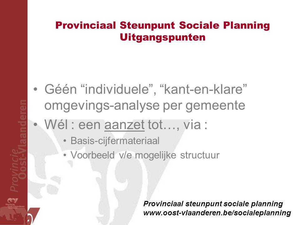 Provinciaal Steunpunt Sociale Planning Uitgangspunten
