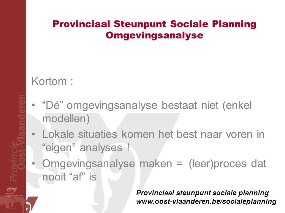 Provinciaal Steunpunt Sociale Planning Omgevingsanalyse