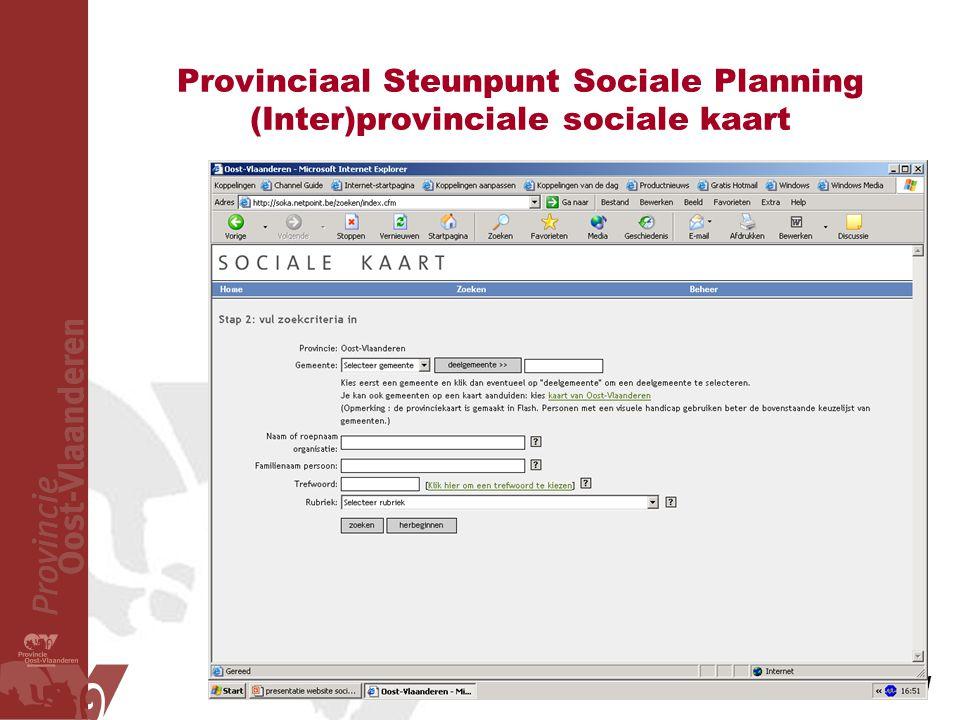 Provinciaal Steunpunt Sociale Planning (Inter)provinciale sociale kaart