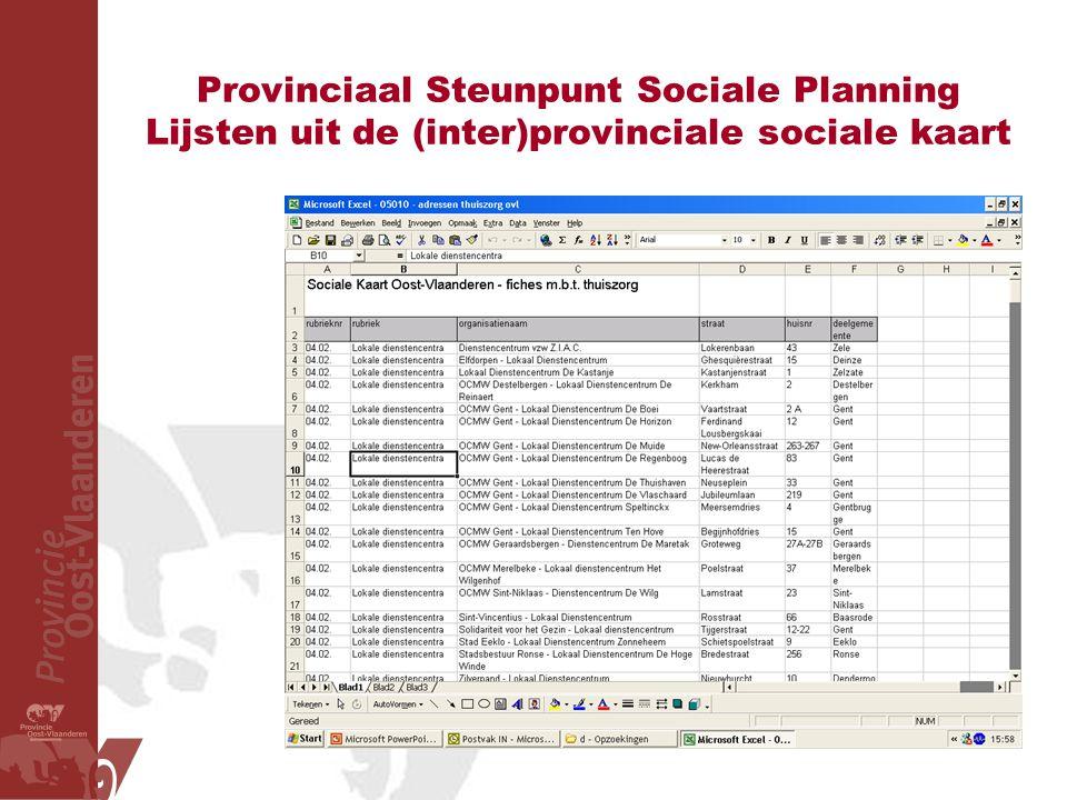 Provinciaal Steunpunt Sociale Planning Lijsten uit de (inter)provinciale sociale kaart