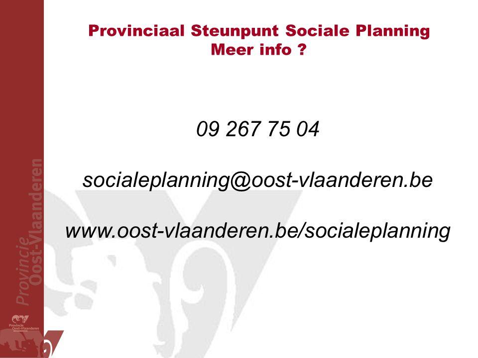 Provinciaal Steunpunt Sociale Planning Meer info