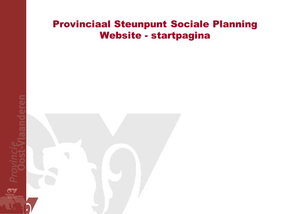 Provinciaal Steunpunt Sociale Planning Website - startpagina
