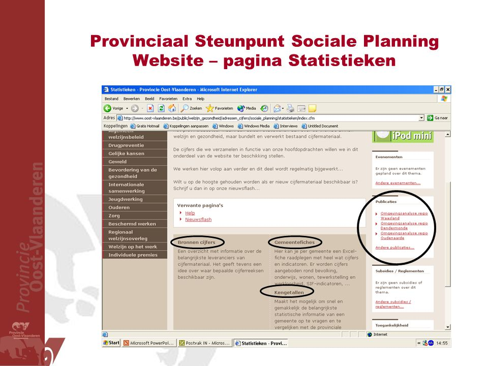 Provinciaal Steunpunt Sociale Planning Website – pagina Statistieken