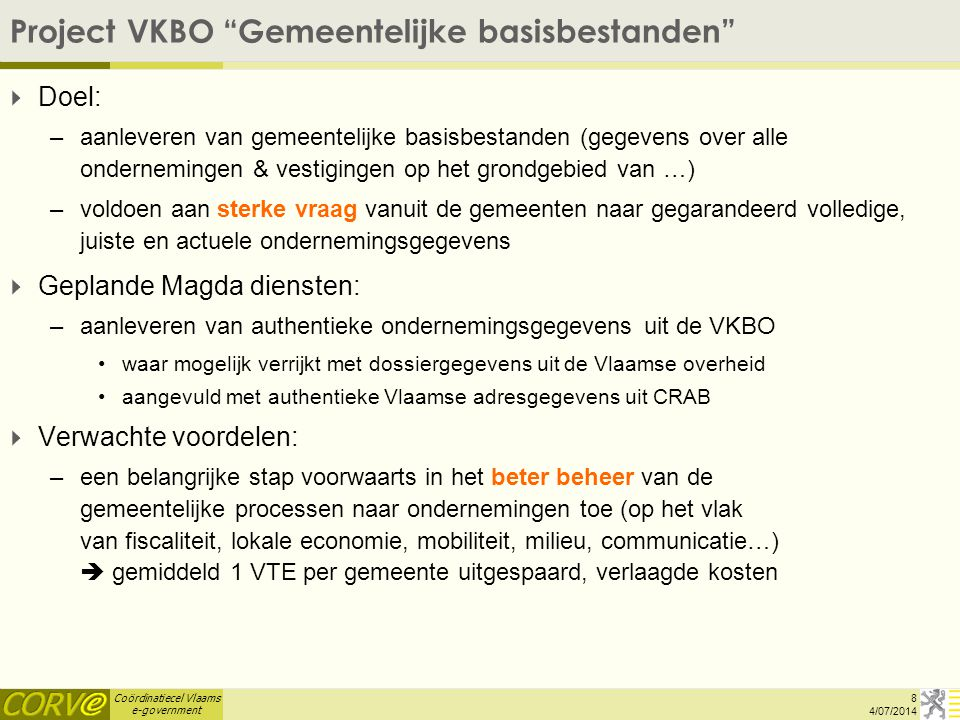 Project VKBO Gemeentelijke basisbestanden