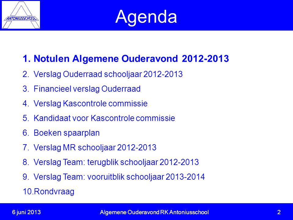 6 juni 2013 Algemene Ouderavond RK Antoniusschool 2