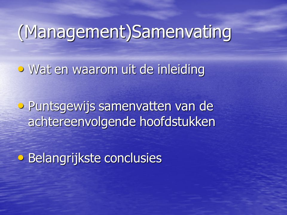 (Management)Samenvating