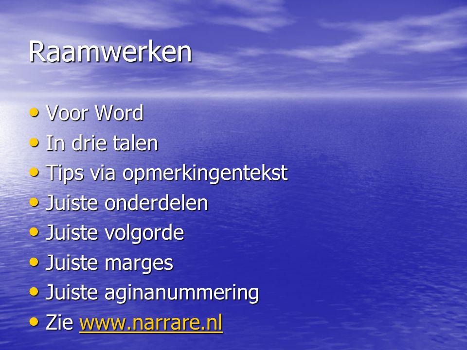 Raamwerken Voor Word In drie talen Tips via opmerkingentekst