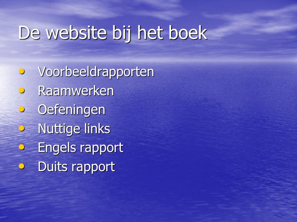 De website bij het boek Voorbeeldrapporten Raamwerken Oefeningen