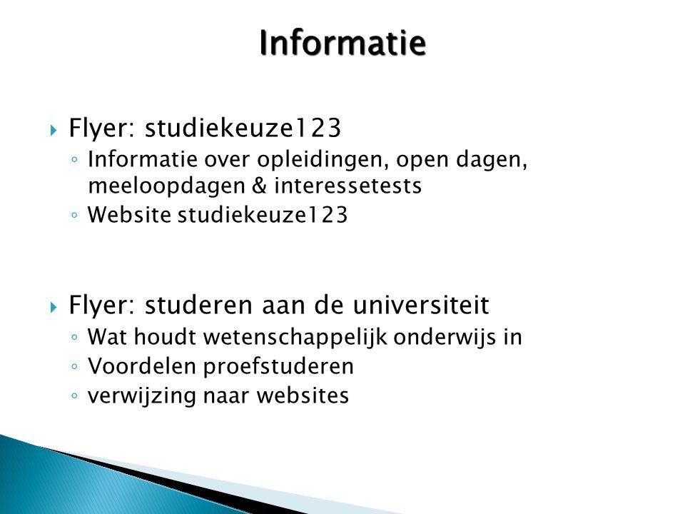 Informatie Flyer: studiekeuze123 Flyer: studeren aan de universiteit