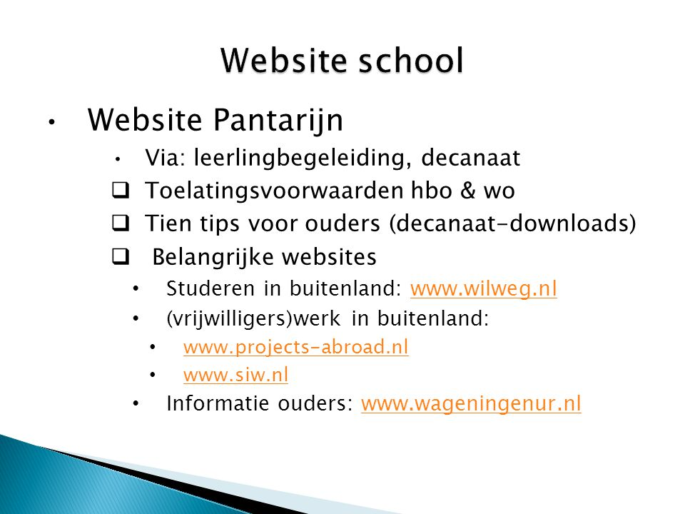Website school Website Pantarijn Via: leerlingbegeleiding, decanaat