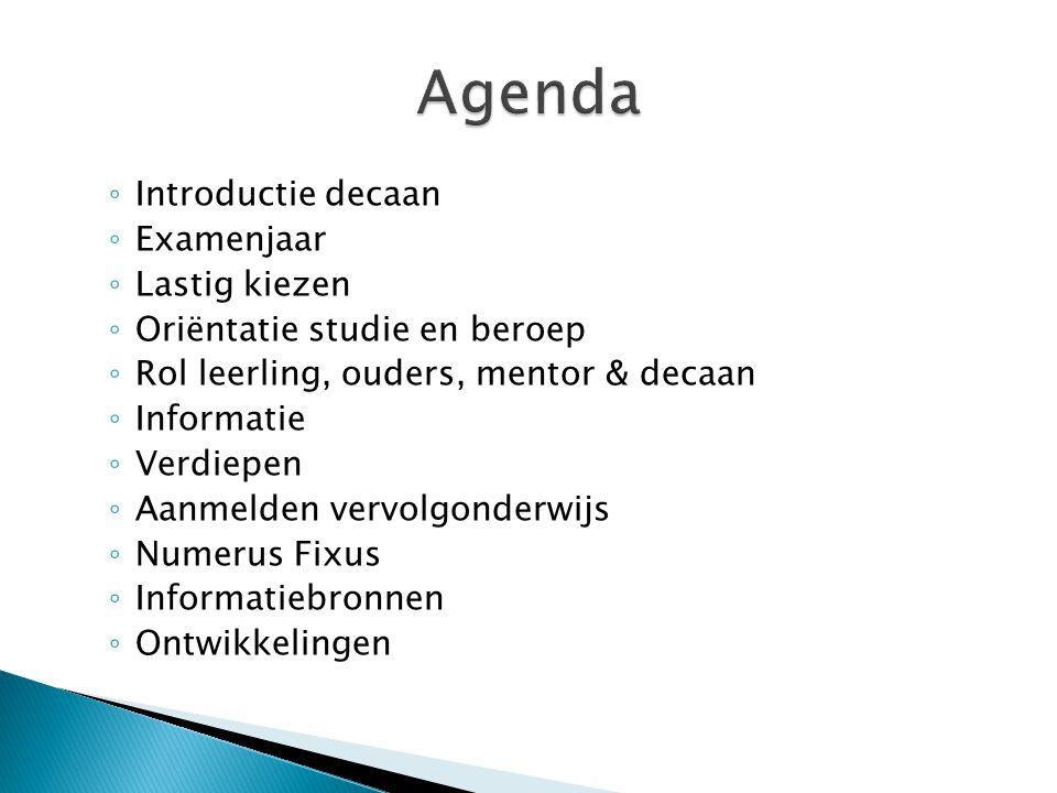 Agenda Introductie decaan Examenjaar Lastig kiezen