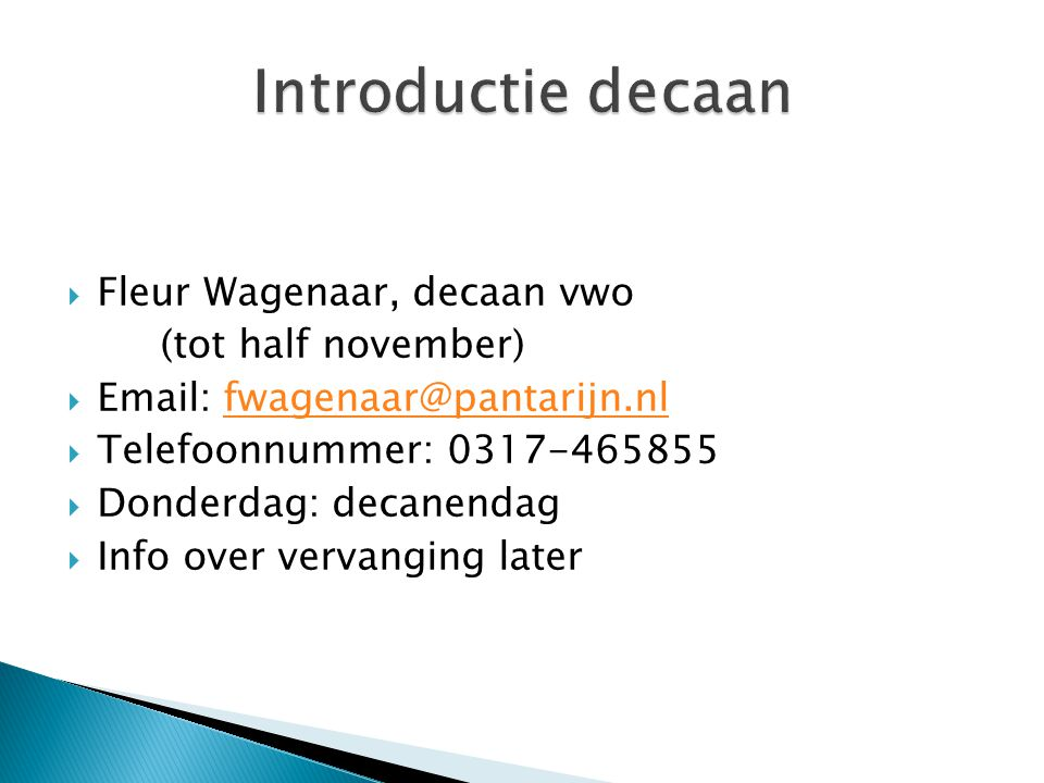 Introductie decaan Fleur Wagenaar, decaan vwo (tot half november)
