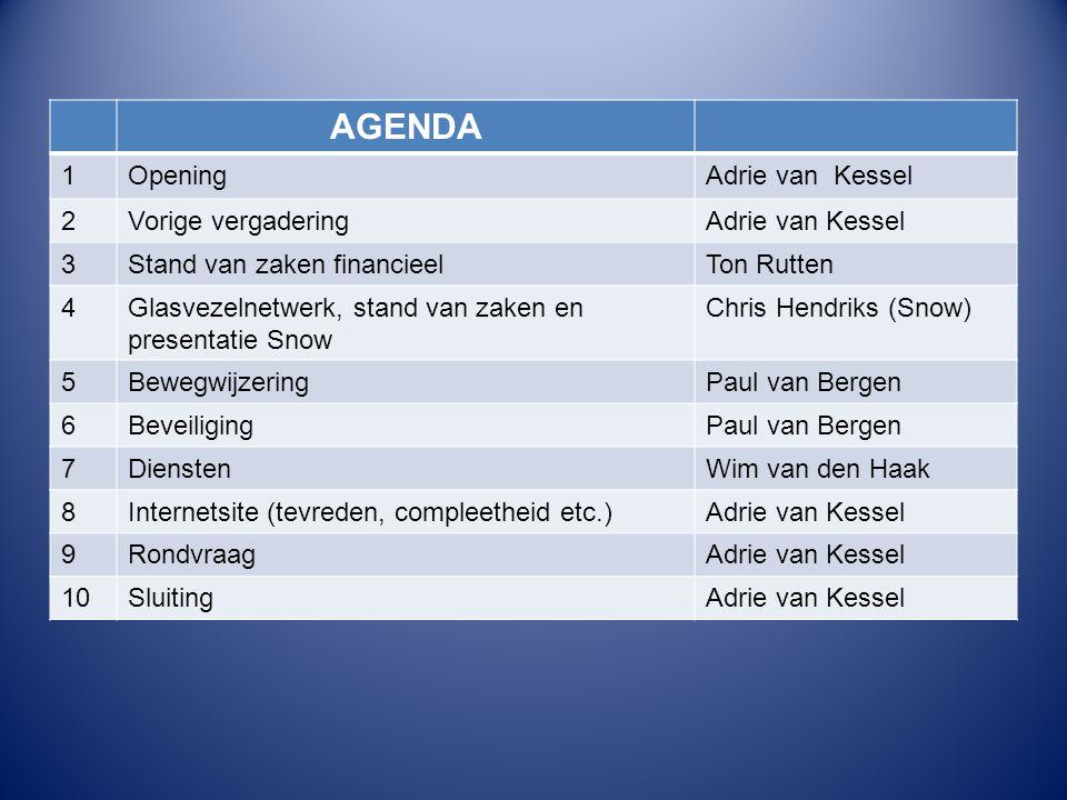 AGENDA 1 Opening Adrie van Kessel 2 Vorige vergadering