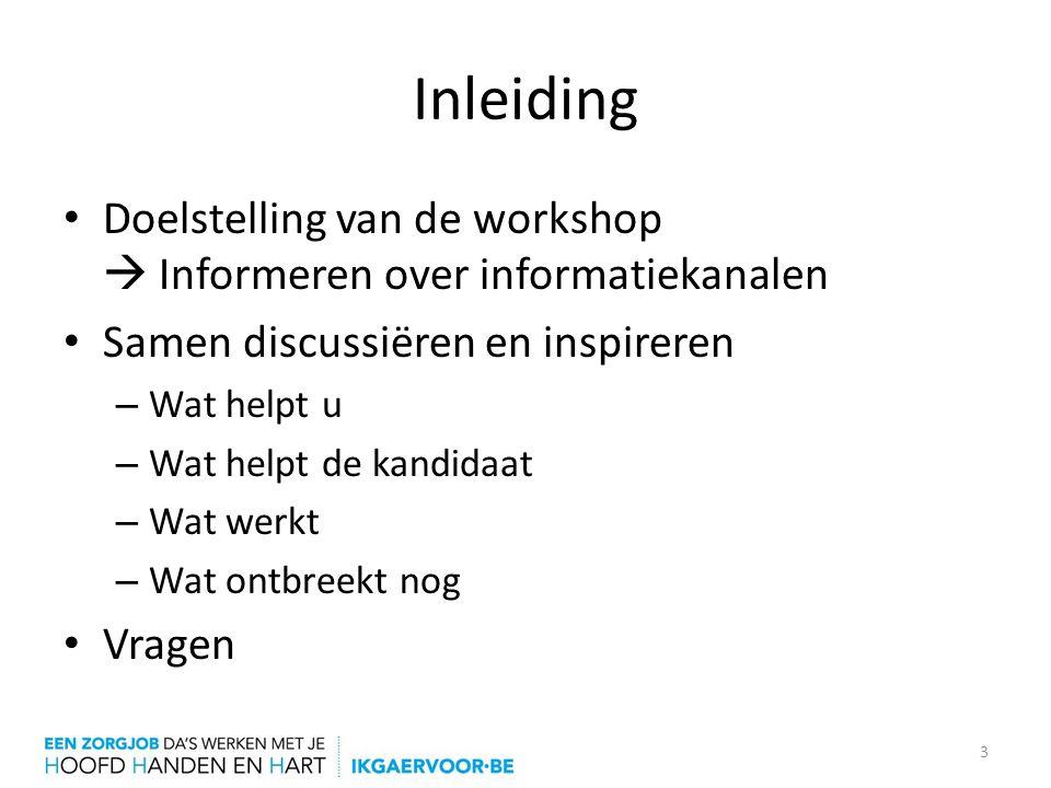 Inleiding Doelstelling van de workshop  Informeren over informatiekanalen. Samen discussiëren en inspireren.