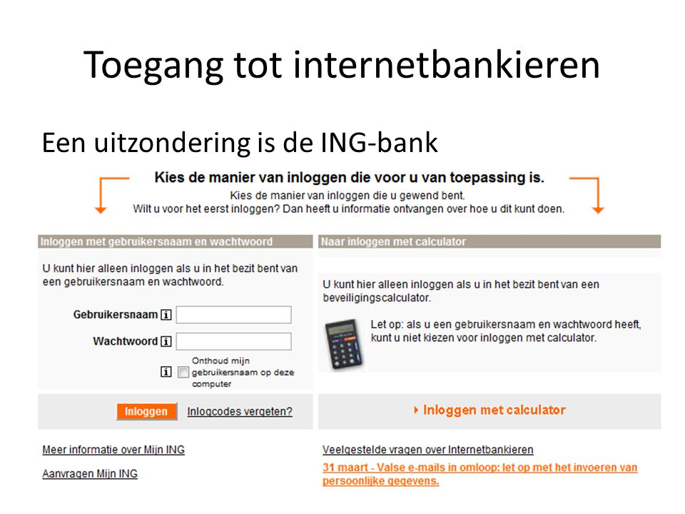 Toegang tot internetbankieren