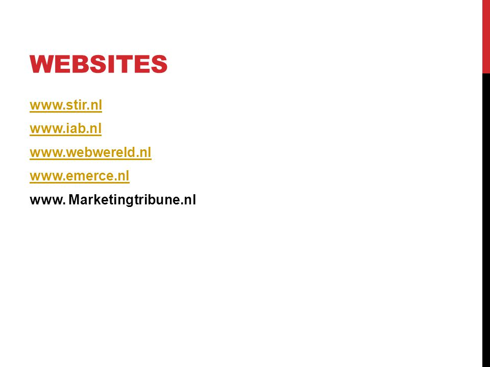 WEBSITES www. Marketingtribune.nl