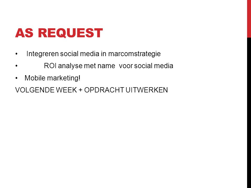 AS REQUEST Integreren social media in marcomstrategie