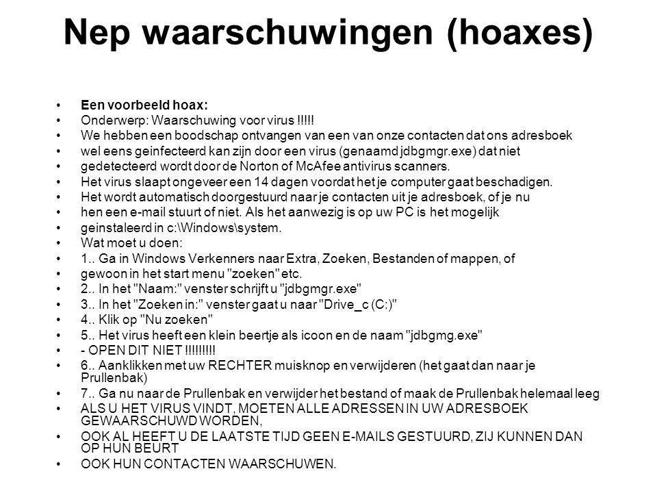 Nep waarschuwingen (hoaxes)