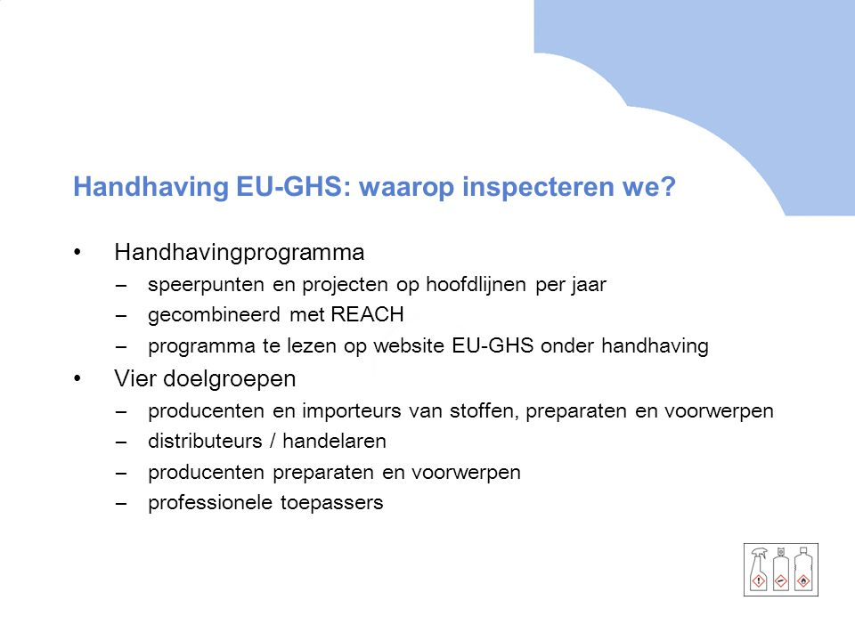 Handhaving EU-GHS: waarop inspecteren we