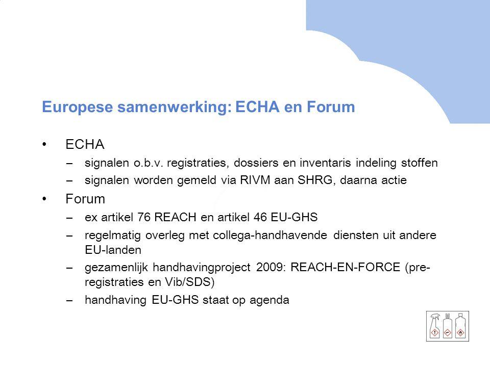 Europese samenwerking: ECHA en Forum