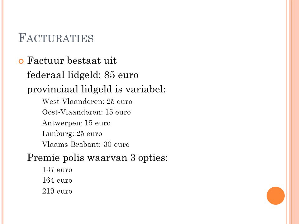Facturaties Factuur bestaat uit federaal lidgeld: 85 euro