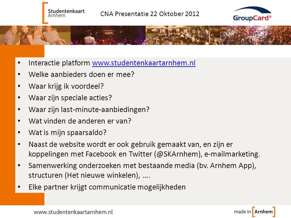 Interactie platform www.studentenkaartarnhem.nl