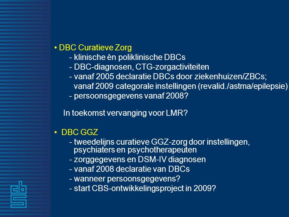 DBC Curatieve Zorg - klinische èn poliklinische DBCs. - DBC-diagnosen, CTG-zorgactiviteiten. - vanaf 2005 declaratie DBCs door ziekenhuizen/ZBCs;