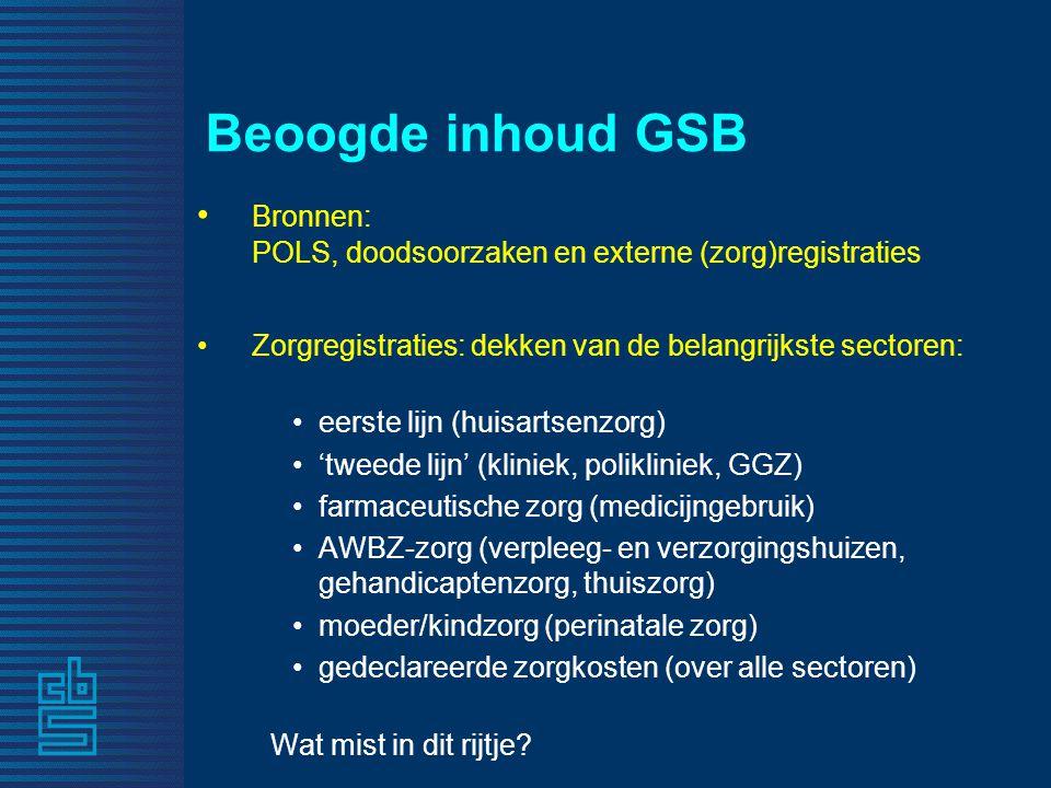 Beoogde inhoud GSB Bronnen: POLS, doodsoorzaken en externe (zorg)registraties. Zorgregistraties: dekken van de belangrijkste sectoren: