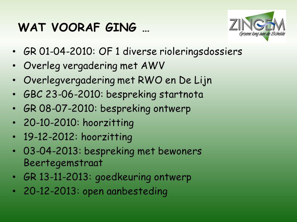 WAT VOORAF GING … GR 01-04-2010: OF 1 diverse rioleringsdossiers