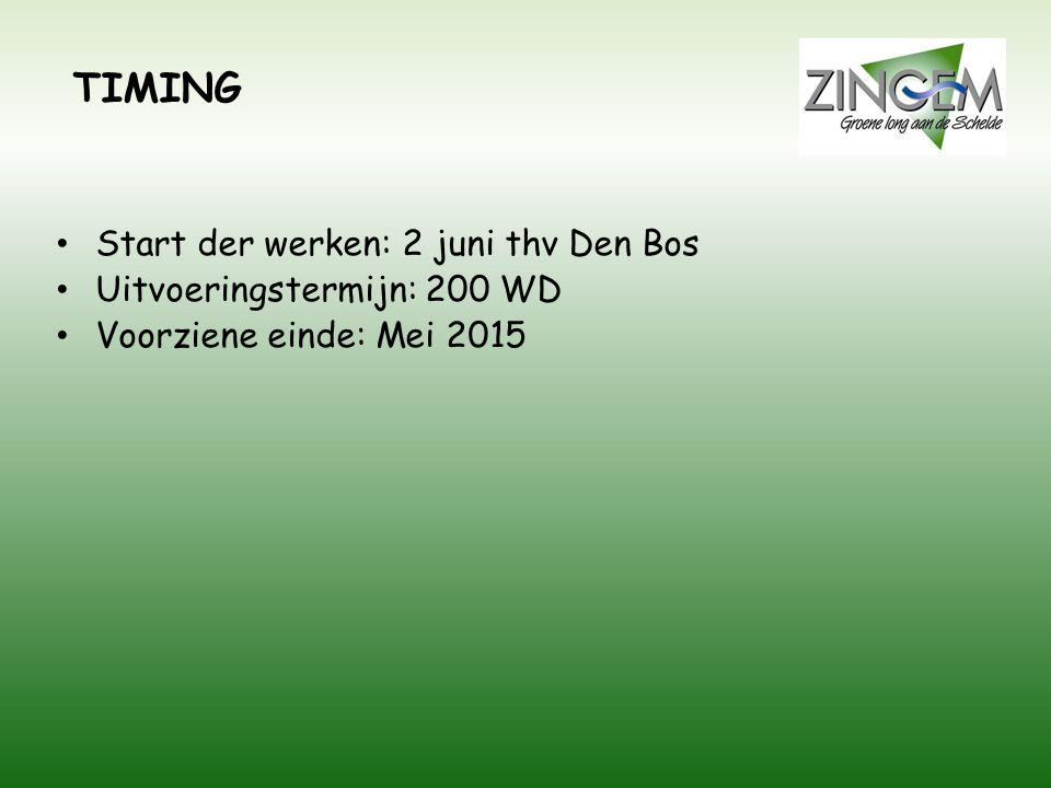 TIMING Start der werken: 2 juni thv Den Bos Uitvoeringstermijn: 200 WD