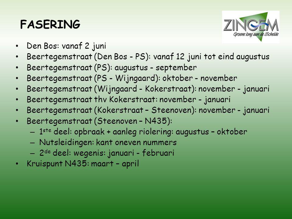 FASERING Den Bos: vanaf 2 juni