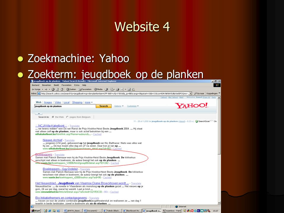 Website 4 Zoekmachine: Yahoo Zoekterm: jeugdboek op de planken
