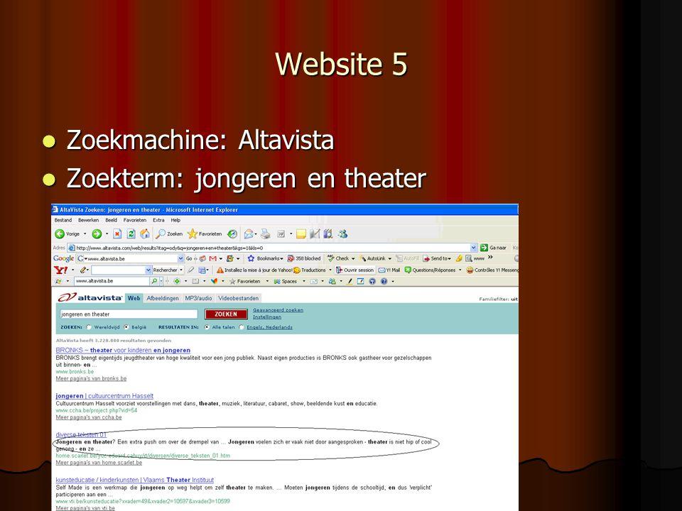 Website 5 Zoekmachine: Altavista Zoekterm: jongeren en theater