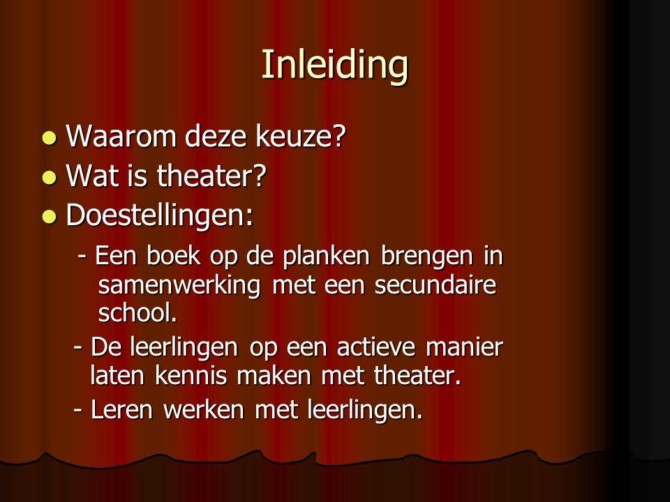 Inleiding Waarom deze keuze Wat is theater Doestellingen: