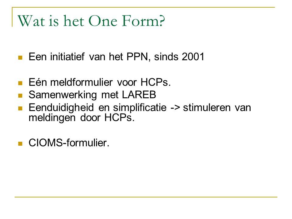 Wat is het One Form Een initiatief van het PPN, sinds 2001