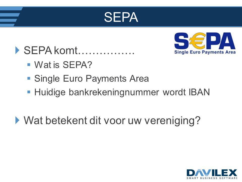 SEPA SEPA komt……………. Wat betekent dit voor uw vereniging Wat is SEPA