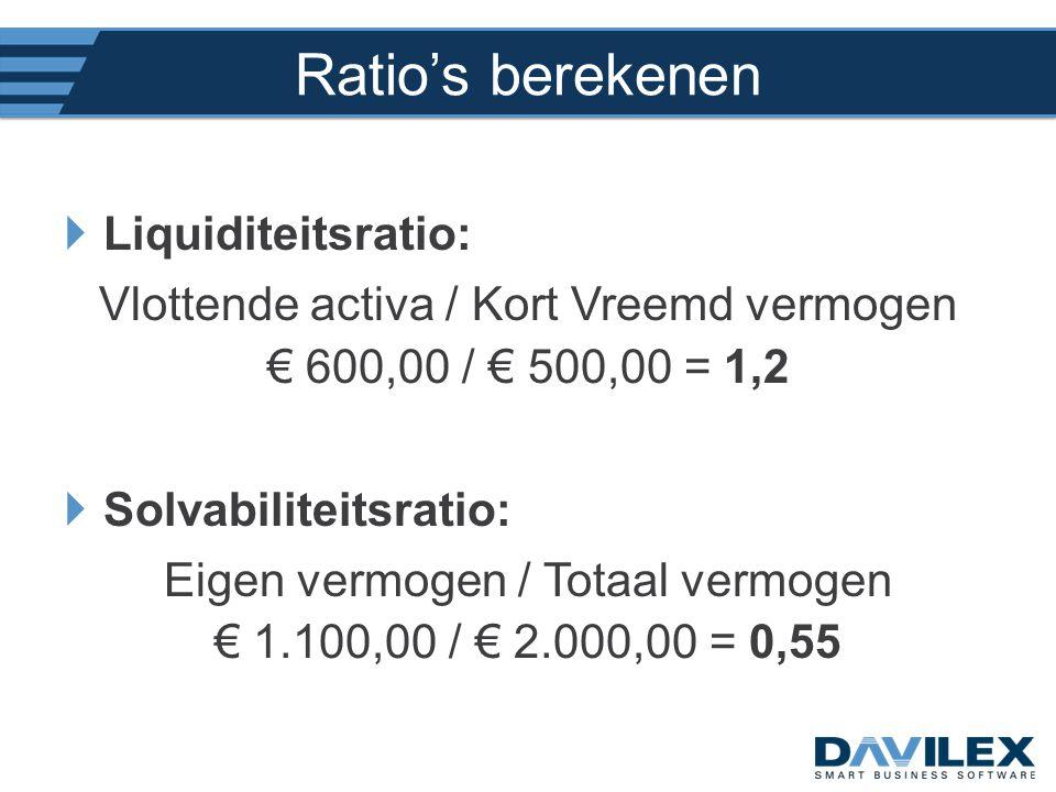 Ratio's berekenen Liquiditeitsratio: