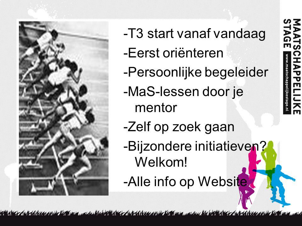 -T3 start vanaf vandaag -Eerst oriënteren -Persoonlijke begeleider -MaS-lessen door je mentor -Zelf op zoek gaan -Bijzondere initiatieven.