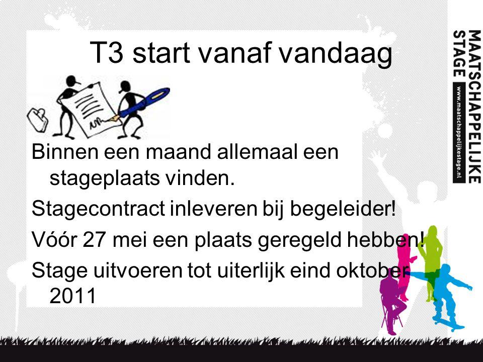 T3 start vanaf vandaag