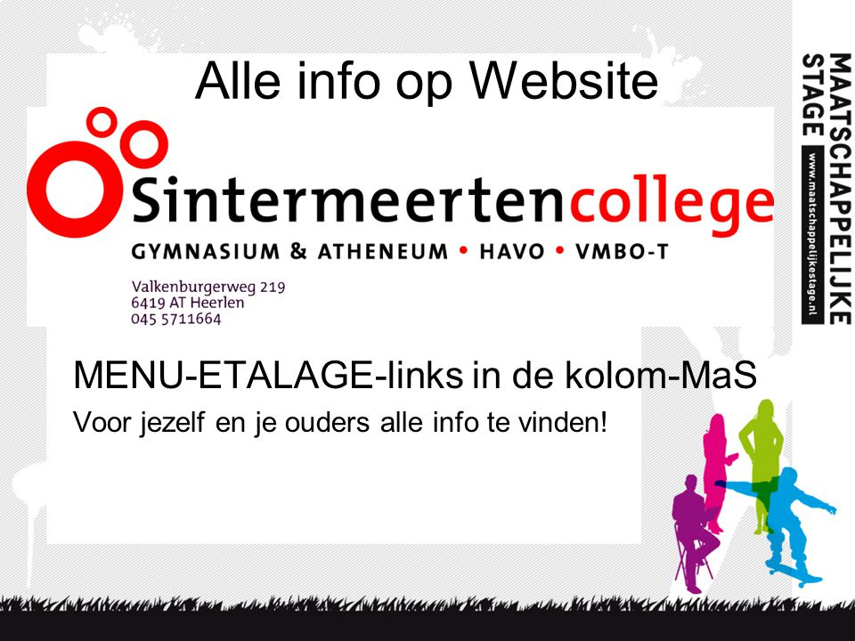 Alle info op Website MENU-ETALAGE-links in de kolom-MaS