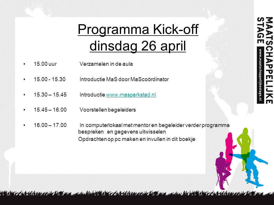 Programma Kick-off dinsdag 26 april