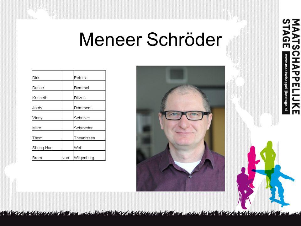 Meneer Schröder Dirk Peters Danae Remmel Kenneth Ritzen Jordy Rommers