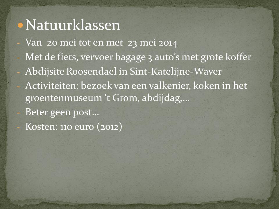 Natuurklassen Van 20 mei tot en met 23 mei 2014