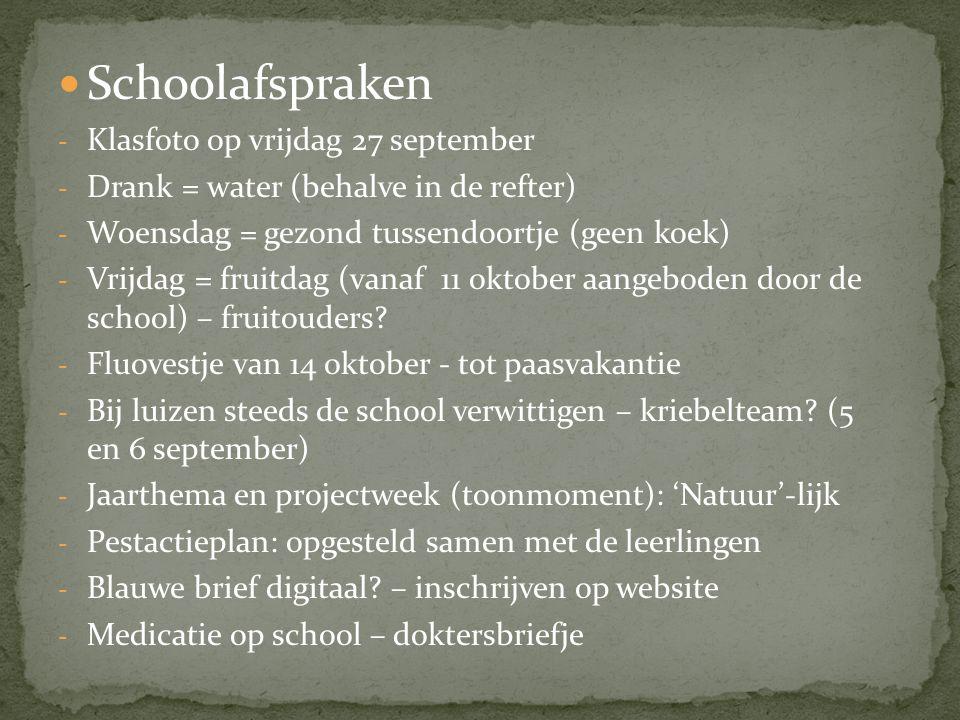 Schoolafspraken Klasfoto op vrijdag 27 september