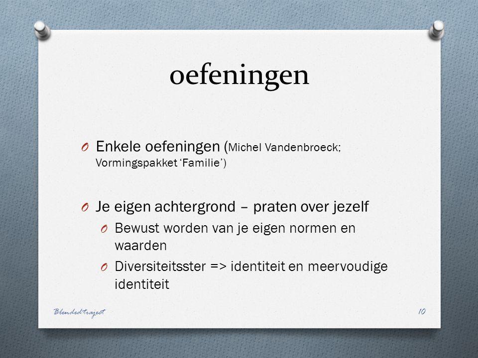 oefeningen Enkele oefeningen (Michel Vandenbroeck; Vormingspakket 'Familie') Je eigen achtergrond – praten over jezelf.