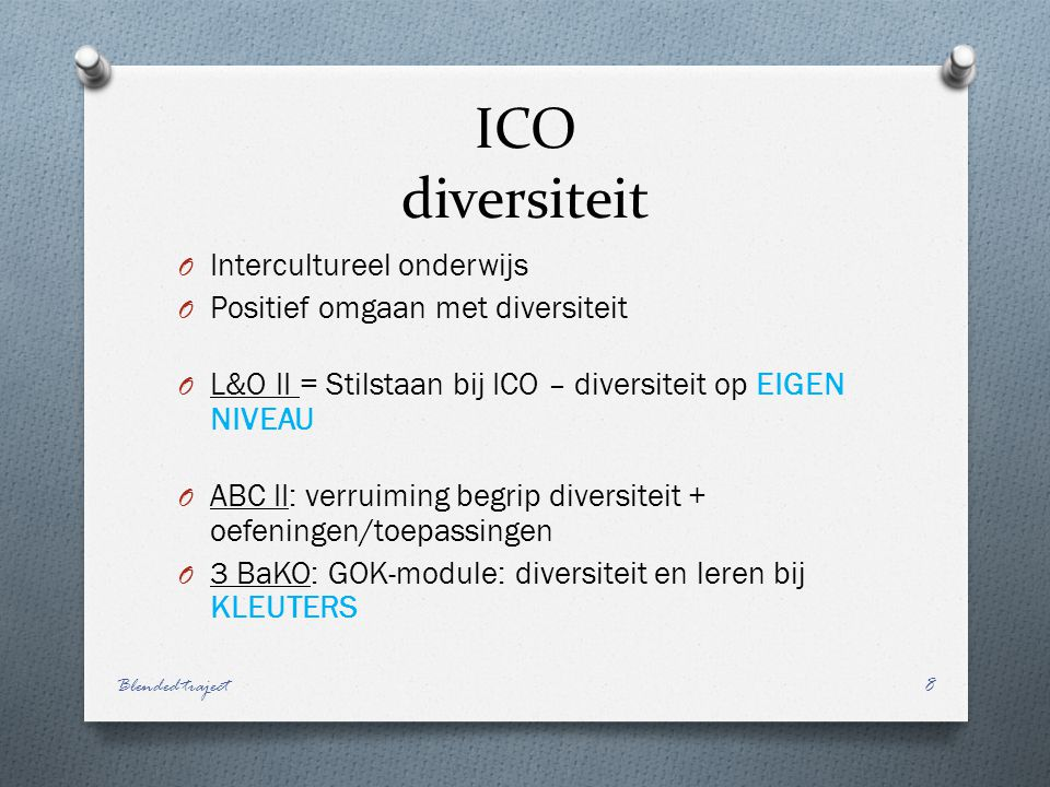 ICO diversiteit Intercultureel onderwijs