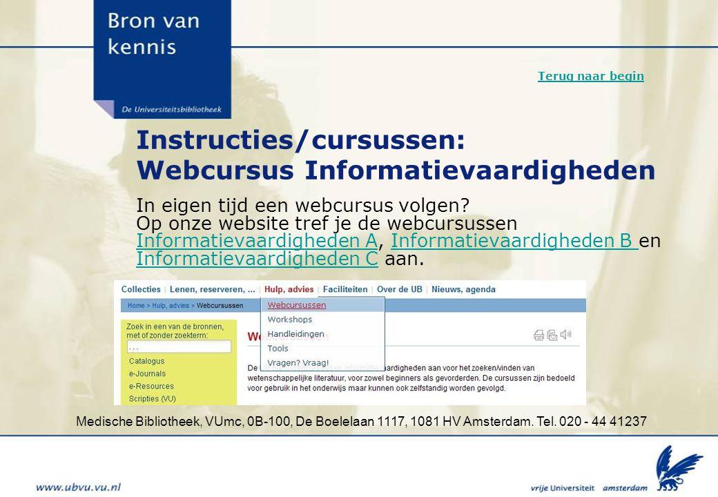 Instructies/cursussen: Webcursus Informatievaardigheden